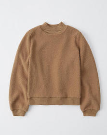 Sherpa Mock Neck Sweatshirt, LIGHT BROWN