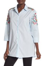 Vertigo Embroidered 3/4 Sleeve Tunic Shirt