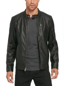 Black Rivet Faux-Leather Moto Jacket w/ Quilted Sh
