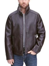 Designer Brand Pebble Faux-Leather Jacket w/ Faux-
