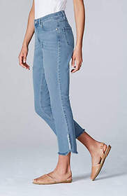 High-Rise Curved–Hem Cropped Jeans