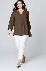 Pure Jill crinkled shirttail top