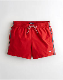 Hollister Guard Fit Swim Trunk 3 in., RED WITH STR