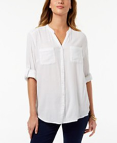 Charter Club Roll-Tab Button-Down Top, Created for