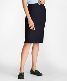 Brooks Brothers Checked Wool Pencil Skirt