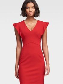 Donna Karan Sheath Dress With Ruffle Sleeve