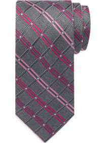 Awearness Kenneth Cole Pink & Gray Grid Narrow Tie