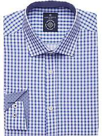 Construct Blue Gingham Check Slim Fit Stretch Dres