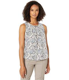 Tommy Hilfiger Printed Pleat Neck Sleeveless Woven