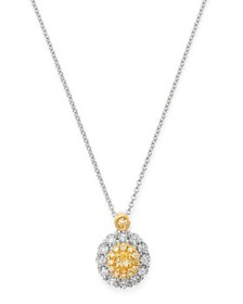 Bloomingdale's - Oval Yellow & White Diamond Neckl