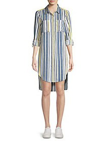 JONES NEW YORK Striped High-Low Shirtdress BLUEBEL