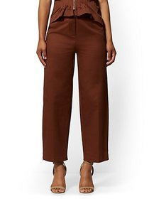 Brown Zip-Accent Wide-Leg Pant - 7th Avenue - New