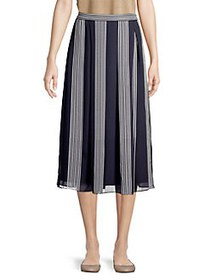 Anne Klein Striped Pleated Maxi Skirt ECLIPSE NAVY