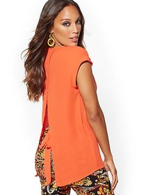 V-Neck Split-Back Blouse - 7th Avenue - New York &