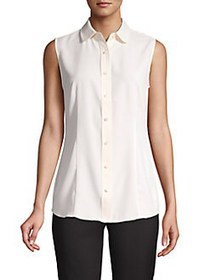 Anne Klein Button-Front Sleeveless Shirt WHITE