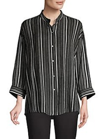JONES NEW YORK Striped Long-Sleeve Top BLACK IVORY