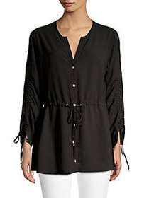 JONES NEW YORK Button-Front Blouse BLACK