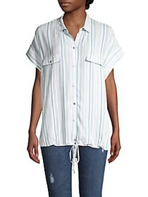 JONES NEW YORK Striped Button-Down Top IVORY BLUE