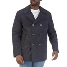 LONDON FOG Mens Navy Cotton Blend Peacoat With Rem