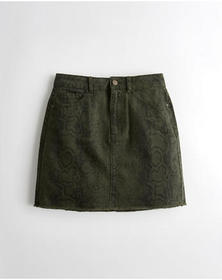 Hollister Ultra High-Rise Snakeskin Denim Skirt, O