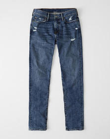 Athletic Skinny Jeans, MEDIUM RIPPED WASH