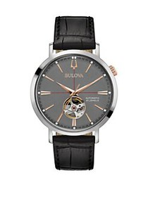 Bulova Automatic Grey Dial & Embossed Black Leathe