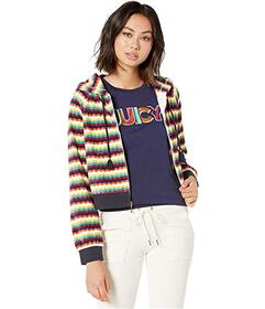 Juicy Couture Ric Rac Stripe Velour Track Hoodie J
