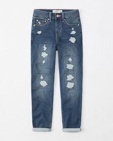 ripped high rise mini mom jeans, destroyed medium