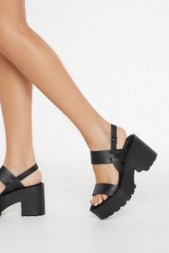 Nasty Gal Womens Black Chunky Cleated Open Toe San