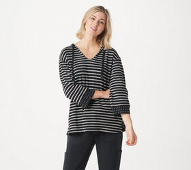 AnyBody Double Knit Striped Hoodie - A367654