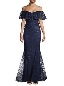 Nicole Bakti Off-the-Shoulder Sequined Ruffle Gown