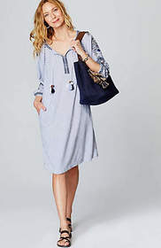 Ocean Breeze Striped Embroidered Dress