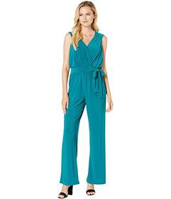 Pappagallo Solid Ity V-Neck Tie Waist Jumpsuit