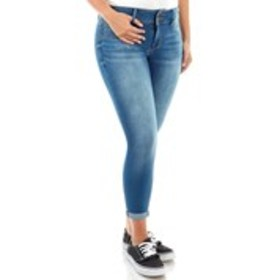 AVA & ALEX Petite Ultra Soft Two Button Skinny Jea