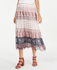 Style & Co Tiered Mixed-Print Midi Skirt, Created