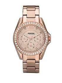 Fossil Ladies Riley Style Rose Goldtone Stainless