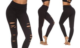 Women Ripped Tummy Control Leggings High Waist Ela
