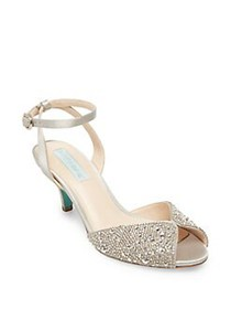 Betsey Johnson Royal Embellished Satin Ankle-Strap