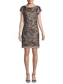 Vince Camuto Sequin Cap-Sleeve Shift Dress TAUPE