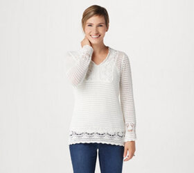 Laurie Felt Crochet V-Neck Sweater with Tank - A35