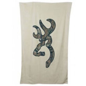 Browning Buckmark Beach Towel, Tan with Camo Logo