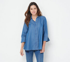 """As Is"" Martha Stewart Chambray Button Front 3/4-"