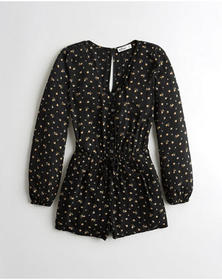 Hollister Button-Front Woven Romper, BLACK FLORAL
