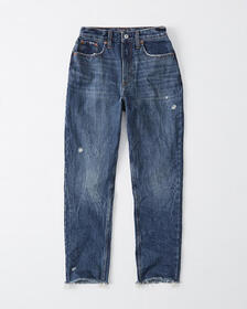 Curve Love High Rise Mom Jeans, DARK RIPPED WASH