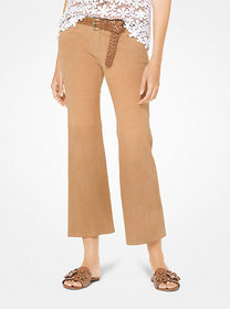Michael Kors Izzy Suede Cropped Flared Pants