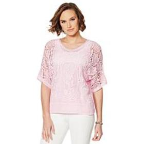 """""""As Is"""" Colleen Lopez Embroidered Crochet Dolman T"""