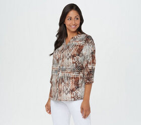 Denim & Co. Tribal Patchwork Printed Blouse - A367