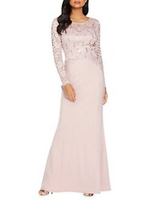 QUIZ Long-Sleeve Sequin Lace Gown PINK
