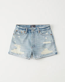 High Rise Denim Shorts, LIGHT RIPPED WASH
