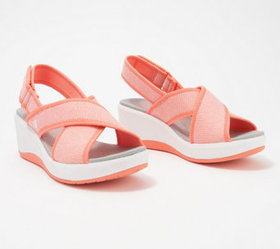 """""""As Is"""" CLOUDSTEPPERS by Clarks Cross-Strap Wedges"""